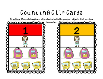Back to School Cool Counting Clip Cards