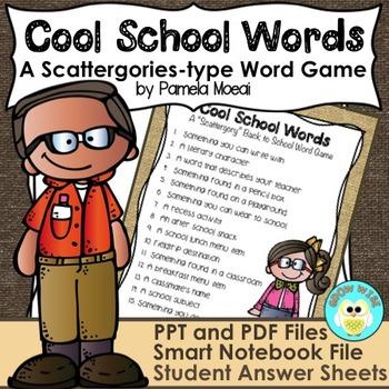 "Back to School ""Cool School"" Scattergories-Type Word Game"