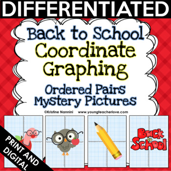 Back to School Activities Coordinate Graphing Pictures   Math Mystery Pictures