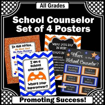 School Counselor Posters, Orange and Blue, Counseling Office Decor BUNDLE