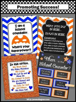 School Counselor Office Decor SET, Confidentiality Sign Printables NOT EDITABLE