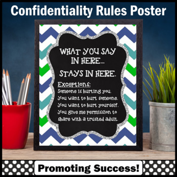 Back to School Counselor Confidentiality Sign Chevron 8x10 or 16x20