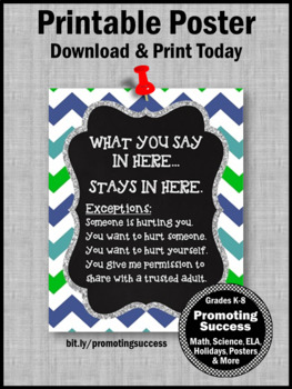Back to School Counselor Confidentiality Sign Teal Blue Chevron 8x10 or 16x20