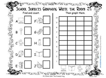 Back to School Count, Add, Subtract & Graph: Write the Room BUNDLE