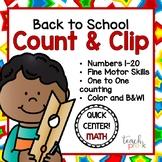 Back to School Count & Clip 1-20 Math Center for PreK, K, & Homeschool