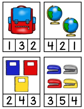 Back to School Count & Clip 1-20 Math Center for PreK, K, & Homeschool