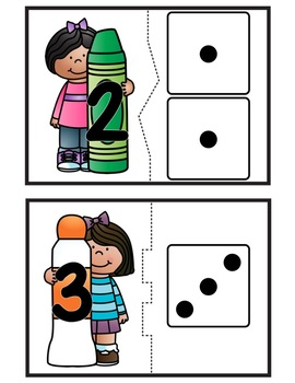 Back to School Count & Match Dice! Math center for PreK, K, & Homeschool