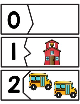 Back to School Count & Match Puzzles 1-20 for PreK, K, & Homeschool