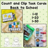 Back to School Counting Activities   Count and Clip