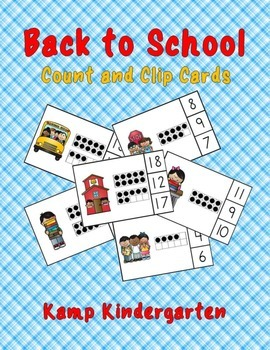 Back to School Count and Clip Cards (Quantities to 20)