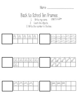 Back to School Count and Write Ten Frames