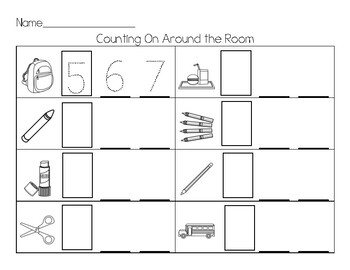 Back to School Count the Room (Write the Room)