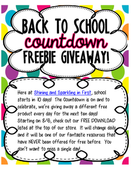 Back to School Countdown Freebie Giveaway