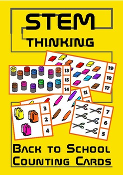 Back to School Counting 1-20 Visual Task Cards, Elementary Math