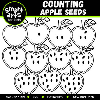 Back to School Counting Apple Seeds Clip Art