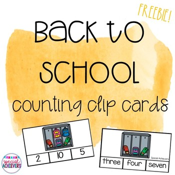 Back to School Counting Clip Cards