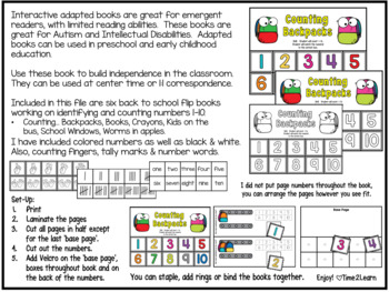 Back to School Counting Flip Books 1-10