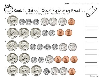 Back to School Counting Money Practice Worksheet