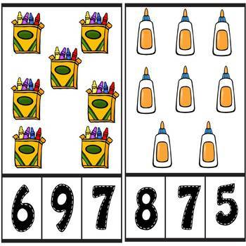 Back to School Count and Clip Number Cards