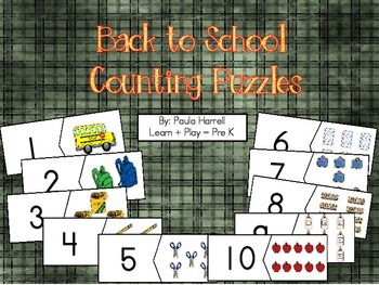 Back to School Counting Puzzles (FREE!)