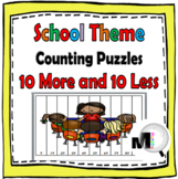 10 More 10 Less - Number Puzzles - School Theme