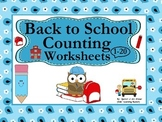 Back to School Counting Worksheets (1-20):