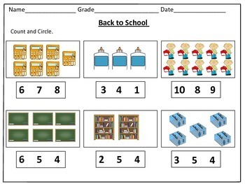 Back to School Counting Worksheets (1-20): by Kids ...