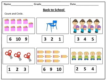 Back to School Counting Worksheets (1-20): by Kids' Learning Basket