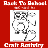Back to School Craftivity First Grade Kindergarten