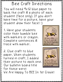 Back to School Bumble Bee Craft