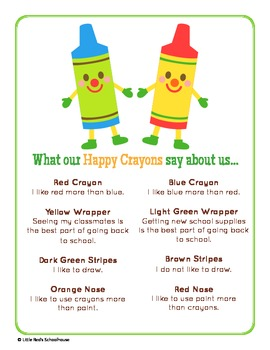 Back to School Crayon Glyph Craft and Worksheets