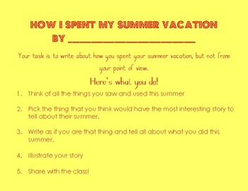 Back to School Creative Writing Prompt