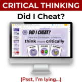 FREE Critical Thinking Activity: Did I Cheat? Psst I'm lyi