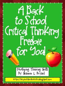 Back to School Critical Thinking FREEBIE!