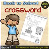 Back to School CrossWord 4th Grade