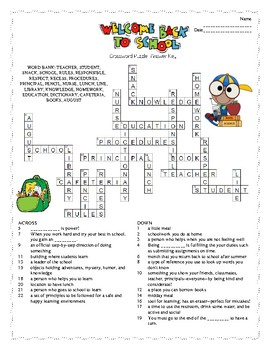 Genius image inside back to school crossword puzzle printable