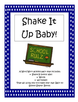 Daily 5 Word Work - Back to School Crossword Shake-It!