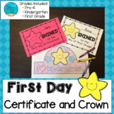 First Day of School Crowns and Certificates