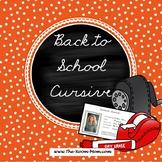Back to School Cursive Handwriting Practice Worksheets (freebie)