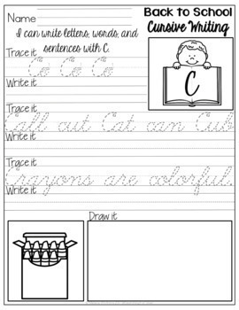 Back to School Cursive Writing No-Prep