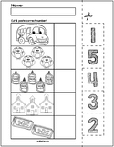 Back to School Cut & Match Worksheets   Numbers 1-5