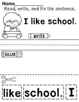 Back to School Cut-Up Sentences