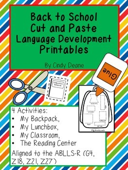Back to School Cut and Paste Language Development Printables