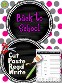 Back to School - Cut and Paste activity