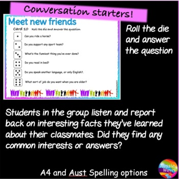 Back to School Activity DICE GAME First Week, Getting to Know You Game