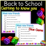 Back to School Activity Getting to Know You Dice Game