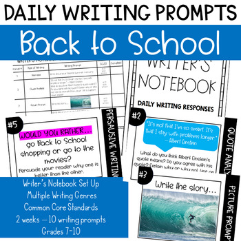 Back to School Daily Journal Writing Prompts - Writer's Notebook