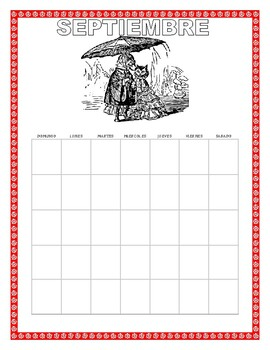 Back to School- September Spanish Interactive Calendar-Days of the Week/Holidays