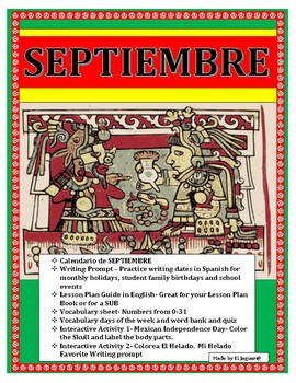 September Spanish Interactive Calendar-Days of the Week/Holidays
