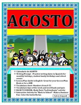 Back to School- August No Prep Activities Bundle in Spanish with Calendar